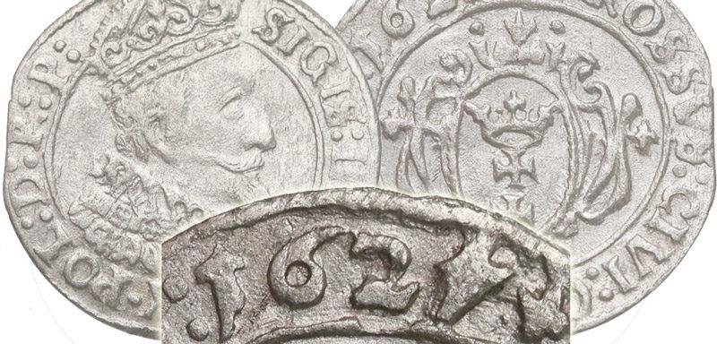 Grosz gdański 1627 z odwróconą 4