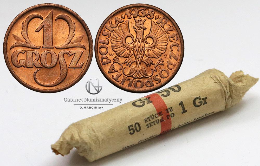 Oryginalny rulon bankowy groszy 1938