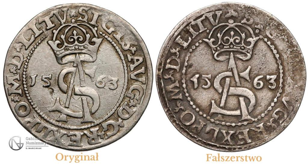 Porównanie awersów oryginału i fałszerstwa trojaka