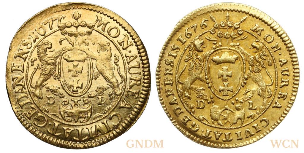 Rewersy dukatów gdańskich 1677 i 1677