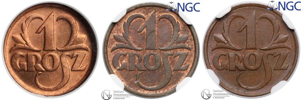 Odcienie monet, od lewej: RD, RB, BN