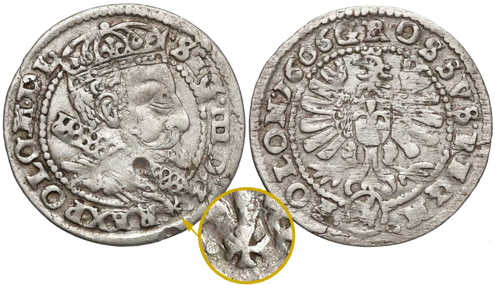 Grosz krakowski 1606 z krzyżem