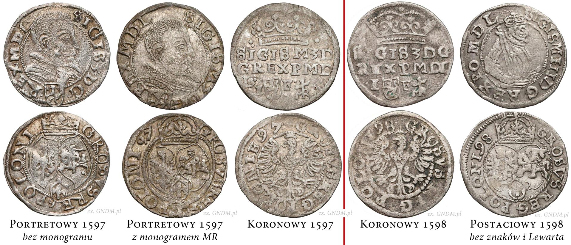 Typy groszy lubelskich 1597-1598