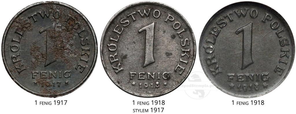 Odmiany jednofenigówek 1917-18